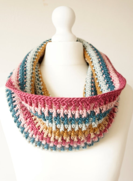 Crochet Patterns Dk Weight Yarn : crochet pattern cowl scarf striped silk yarn DK warm winter easy pdf ...