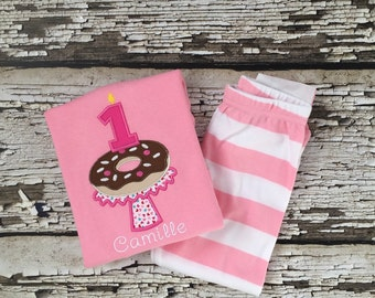 Birthday Donut PJS - Donut Pajamas - Personalized Breakfast Party - Donut Breakfast Pajamas - Birthday Outfit- Girls Pajamas - Doughnut