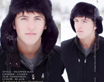 Sheepskin Trapper Ushanka Aviator Russian Fur Hat Unisex BLACK Arctic Store® Arktika