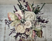 Cute as a Buttonflower Small Wedding Bouquet - Aubergine Wildflowers, White Button Flowers, Velvet Leaves, Ivory Burlap & Cotton Rosettes