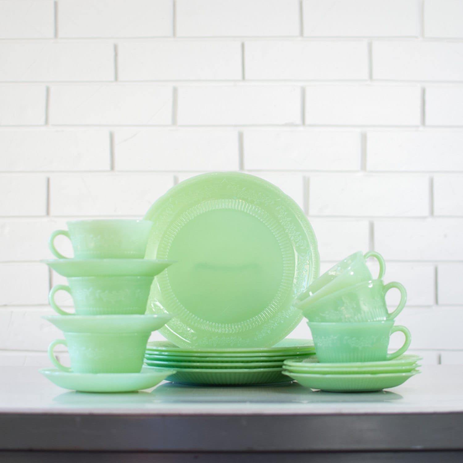 Fire King Jadeite Alice Dinnerware Set Jadite Alice Dinner