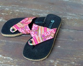 Vegan Womens Flip Flops Thong Sandals In Colorful Ethnic   Hmong Embroidery - Nikki