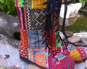 Patchwork Womens Boots Boho Combat In Ethnic Hmong Mid Calf Lace Up  - Britta FREE Shipping