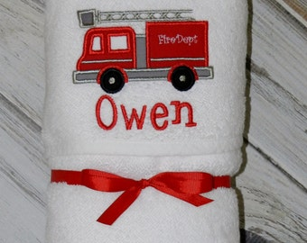 Firetruck Hooded Baby Towel / Personalized / Baby Gift / Shower Gift
