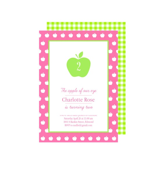 Printable Invitations- Apple of My Eye Party by Bloom