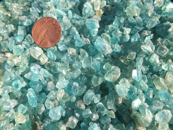 Natural Teal Aqua Green Blue Gemmy Apatite Rough Crystal Pieces - 10g - 20g - 50g - Crystal Wire Wrap, Jewellery, Jewelry, Crystal Gridding