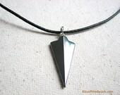 Arrowhead Necklace - Hematite Arrow Jewelry, Hematite Mens Necklace, Black Leather Cord Steel Grey Pendant Arrow Head