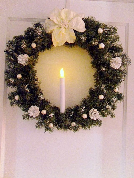items similar to free shipping 24 silent night christmas wreath battery operated candle. Black Bedroom Furniture Sets. Home Design Ideas