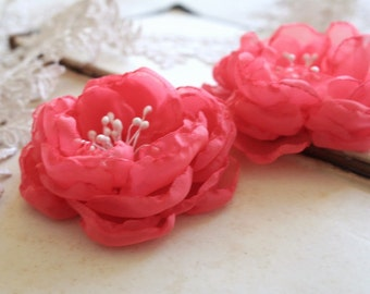 Coral Chiffon Hair Flowers Wedding Hair Accessories Bridesmaids Flower Clips Bridal Hairpiece Salmon Pink Coral Wedding Summer Wedding