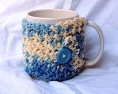 Crocheted Coffee Cozy / Mug Warmer in Blue and Ecru