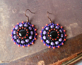 Bead embroidery Earrings Black Purple Orange Earrings Beadwork earrings Black Purple dangle Earrings Bead embroidery jewelry MADE TO ORDER
