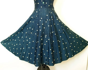Vintage 1950s navy and white polka dot dress size S or M