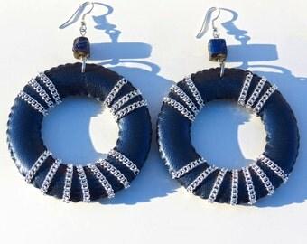 NINA // Blue Leather Hoop Earrings/ Silver Chain Hoops/ Fall Earrings/ Large Hoops/ Statement Earrings/ Fashion Earrings/ Gift for Her