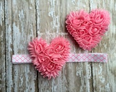 Shabby Heart Headband or Hair Clip in Pink, Valentine's Day Headband or Clip in Pink, Heart Headband for Baby, Infant, Toddler or Girl