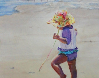 """Original Watercolor Painting: Toddler on the beach in her """"Flowery Hat"""""""