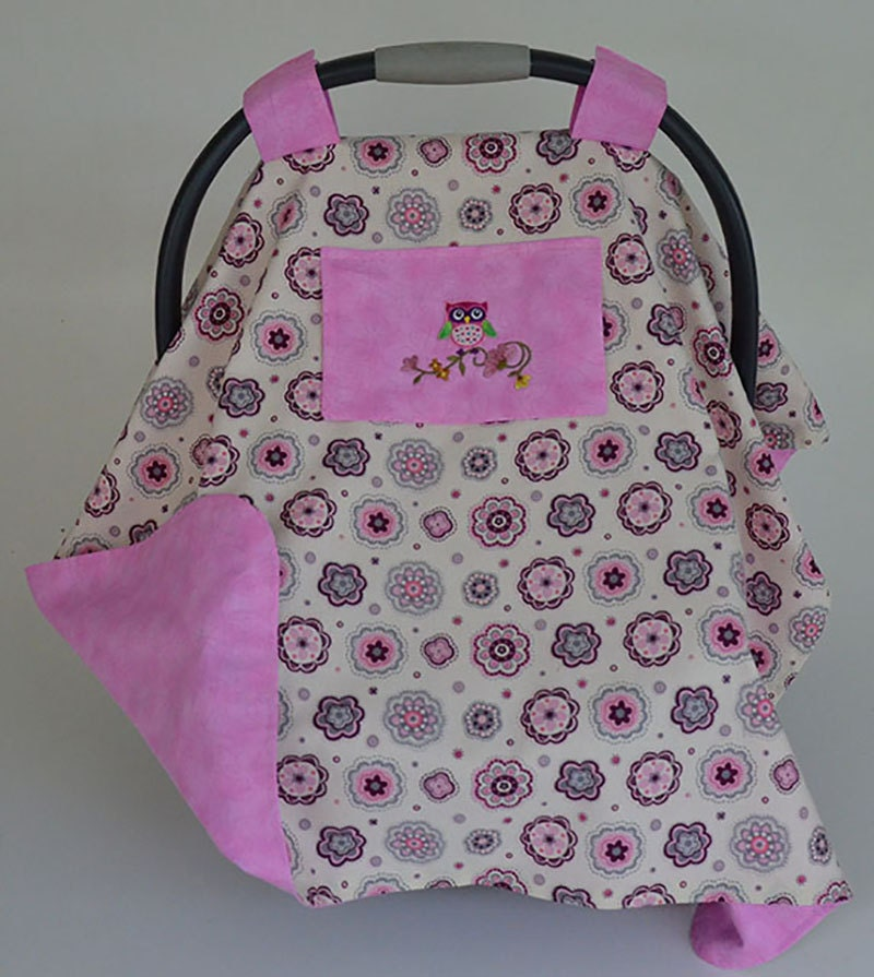 baby car seat cover with owl pink car seat canopy baby carrier. Black Bedroom Furniture Sets. Home Design Ideas