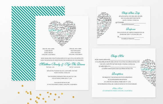 sample bilingual vietnamese wedding invitation set love, invitation samples