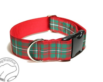 """MacGregor Clan Tartan - Tartan Dog Collar - Red and Green Tartan - 1.5"""" (38mm) Wide Martingale or Side Release - Choice of style and size"""