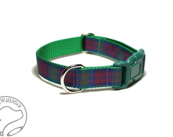 "Lindsay Clan Tartan Dog Collar - 1"" (25mm) Wide - Green, Blue and Wine Plaid - Martingale or Side Release - Choice of collar style and size"