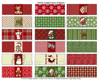 Digital Printable Hershey's Nuggets Candy Wrappers - Christmas Theme