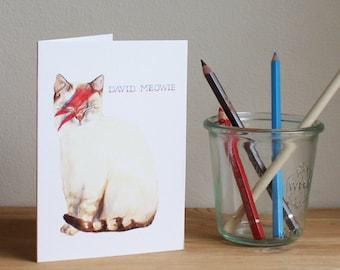 David Meowie Greetings Card