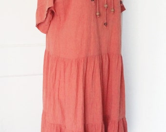 SALE // Mesa Sunrise Soft Washed Coral Cotton Tiered Tent Dress Oversized Fit with Wood and Metal Beads by David Brown Boutique California