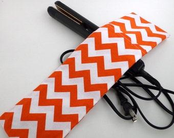 SALE-Orange Chevron Travel Curling Iron Cover, Flat Iron Case