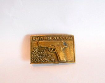 Brass Belt Buckle Vintage Smith and Wesson Metal Gun Firearms Gift for Him