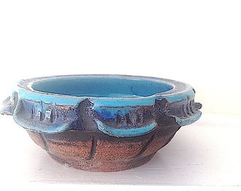 Mid Century Modern Home Decor, Turquoise Plate Pottery , 1950s Ceramic Stoneware Dish For Living Room, Bohemian Chic Decor, Handmade Pottery