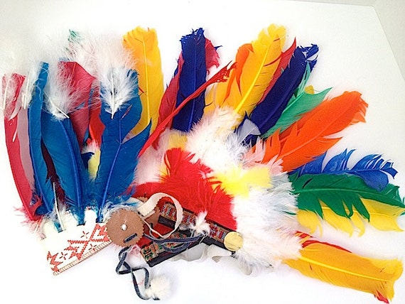 Native American Inspired Indian Chief Headdress / Warbonnet,  Native American Indian Inspired Headdress, Colorful Feather, 1960s Costume