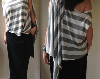 Strip Off Shoulder Top / Oversize Striped Shirt  Tunic/ Plus Size Top / Asymmetrical Tunic  / Asymmetric Kaftan / Loose Striped Blouse