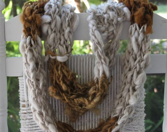 Hand Knit Bulky Cowl Scarf combo, in Gray and Golden Brown, Super Soft Handspun Wool Yarn