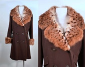 Vintage 60s Brown Wool Tweed Mod Long Opera Coat w/ Spotted Bohemian Boho Penny Lane Style Rocker Cat Fur Spotted Cuffs + Soft Collar, M/L