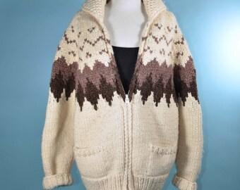 Vintage Women's Cream TUAK Cowichan Cardigan/ Canadian Hand Knit Fair Isle Ethnic Cardigan Jumper Sweater M