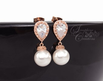 Rose Gold Wedding Earrings Pearl Wedding Jewelry Swarovski Pearls Cubic Zirconia Teardrop Bridesmaid Gift White Cream Round Classic K034RG