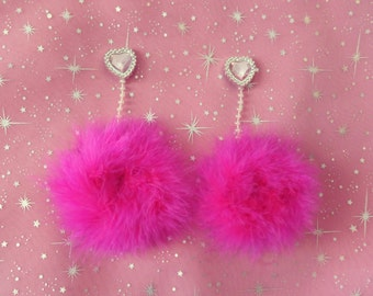 Earrings Faux Feathers Pastel Pink Pom Pom Earrings Silver