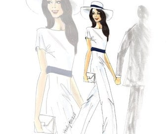 "Fashion Illustration print ""Mrs. Clooney Courthouse"",  Fashion Illustration of the new Mrs. Clooney in Stella McCartney  By Emily Brickel"