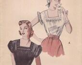 1950s Sweet Summer Blouse Pattern Butterick 5764 Size 14 Uncut