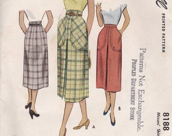 1950s Skirt Pattern McCalls 8188 Waist 30