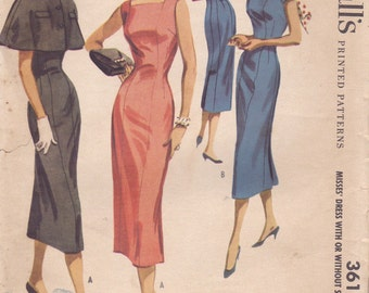1950s Sheath Dress Pattern McCalls 3614 Size 12 - Incomplete