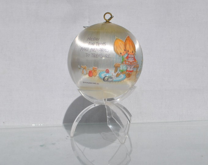 Vintage Hallmark White Satin Keepsake Ornament, Holiday Fun Betsy Clark Christmas Ornament 1979, Christmas, Hallmark Ornament, Ball Ornament