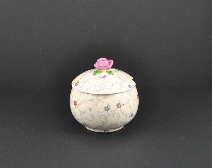 Vintage Porcelain Sugar Bowl, Strasborg Pattern, Fondeville Ambassador England Ware