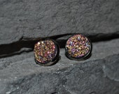 Pink and Gold  Faux Druzy Geode Earring. Nickel-free. Stud Post Earring. Drusy earrings. Natural Looking