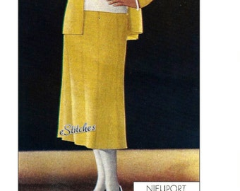 1930s Suit Cardigan Jacket, Blouse, Flared Skirt and Hat - Knit pattern PDF 2606