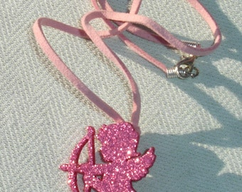 Glittery Pink Cupid Pendant on Pink Suede Cord