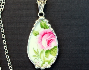 Necklace, Broken China Jewelry, Broken China Necklace, Teardrop Pendant, Pink Rose, Sterling Silver, Soldered Jewelry
