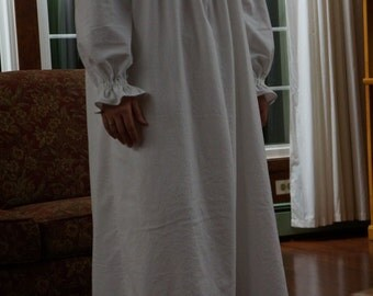 Womens Sweet & Simple Cotton or Flannel Nightgown, Made to Measure | long nightgown | soft nightgown | white nightgown