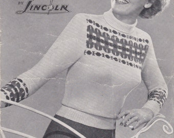 Lincoln Fashion Fair Isle in Stylish Handknits -  Knitting Pattern No 682 (Vintage 1940s) Original Pattern