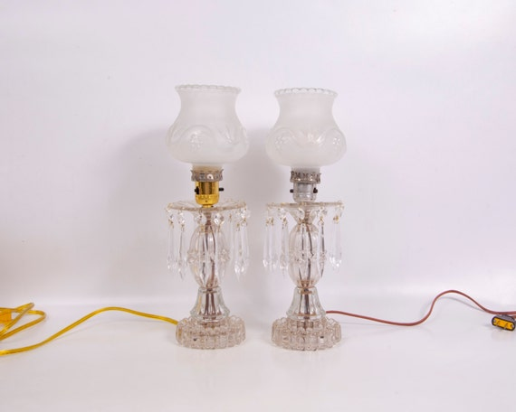 Vintage Hobnail Glass Crystal Table Lamps 24 Crystal Teardrop