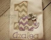 Lavender and Gray Elephant Birthday Shirt Onesie